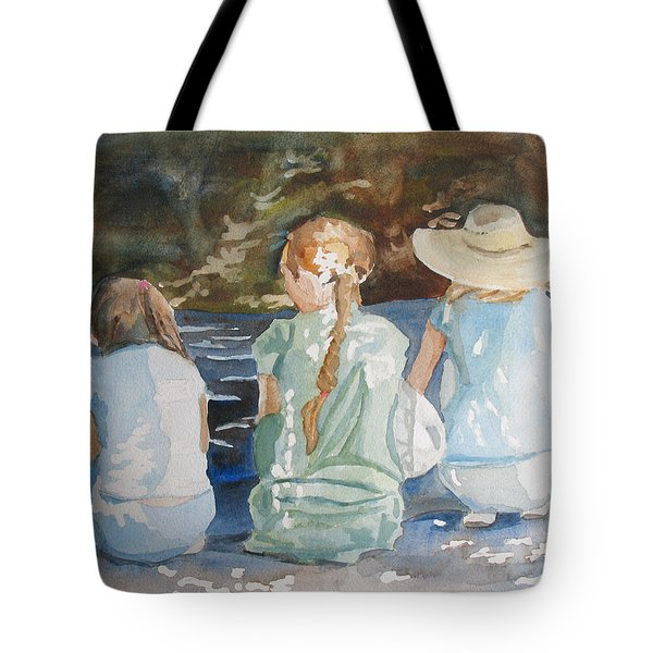Cousins At The Brook Tote Bag by Jenny Armitage