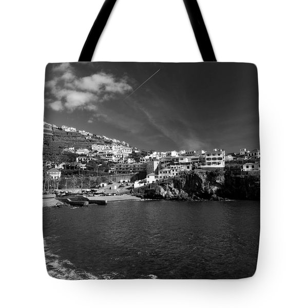 Cove In Black And White Tote Bag