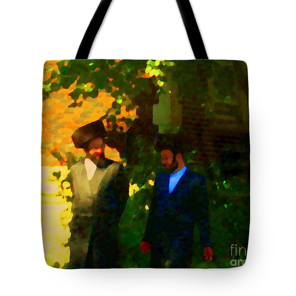 Covenant Conversation Two Men Of God Hasidic Community Montreal City Scene Rabbinical Art Carole Spa Tote Bag by Carole Spandau