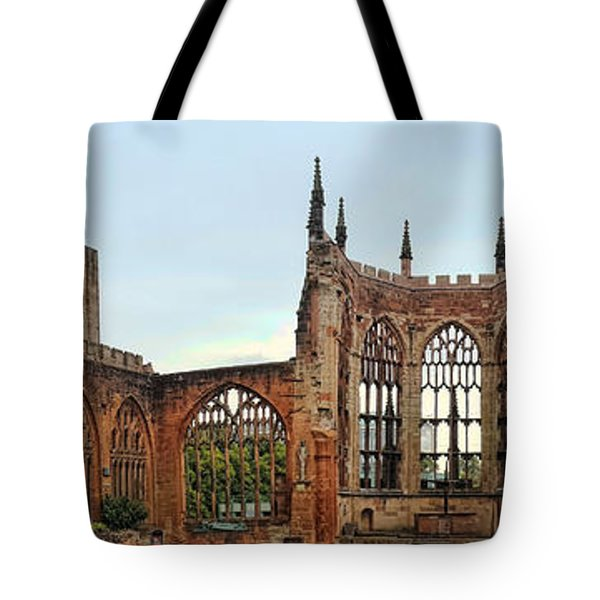 Coventry Cathedral Ruins Panorama Tote Bag