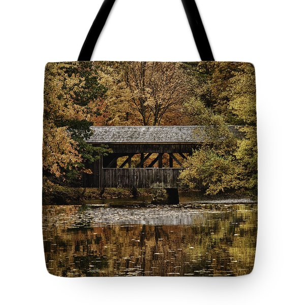 Tote Bag featuring the photograph Covered Bridge At Sturbridge Village by Jeff Folger
