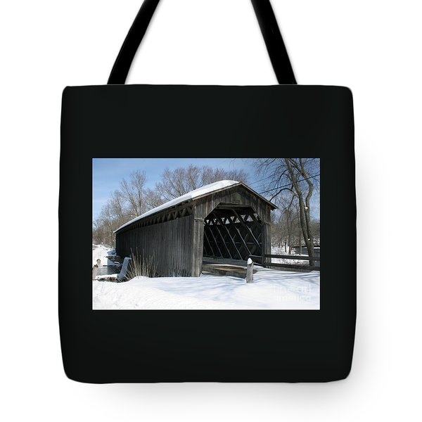 Covered Bridge In Winter Tote Bag