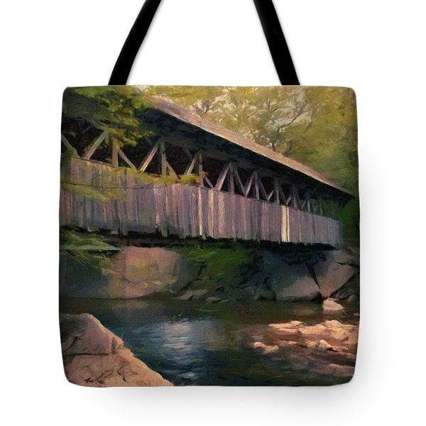 Tote Bag featuring the painting Covered Bridge by Jeff Kolker