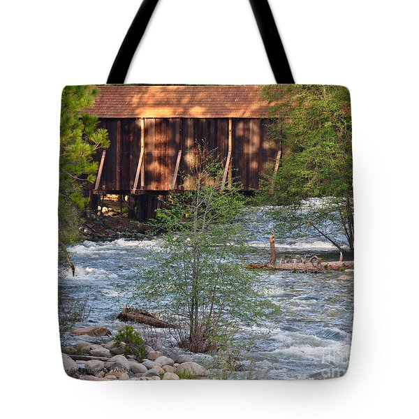 Tote Bag featuring the photograph Covered Bridge Over The River by Debby Pueschel