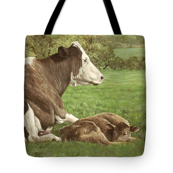 Cow And Calf In Field Tote Bag