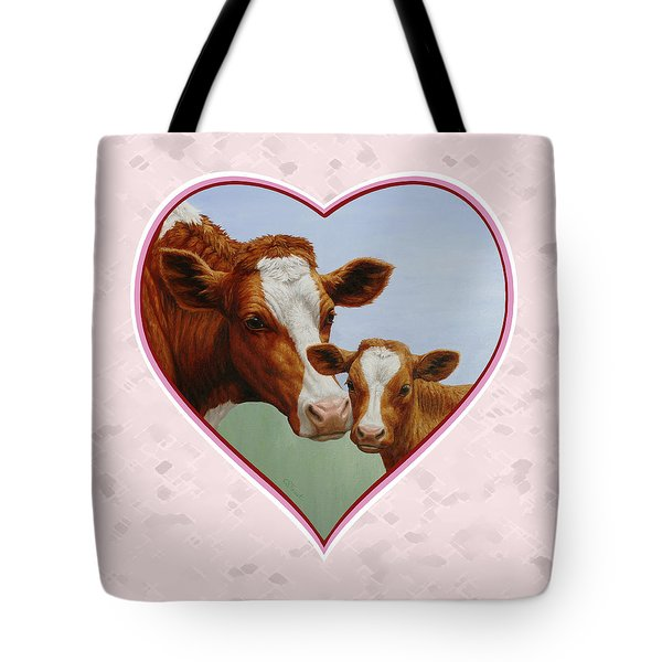 Cow And Calf Pink Heart Tote Bag by Crista Forest