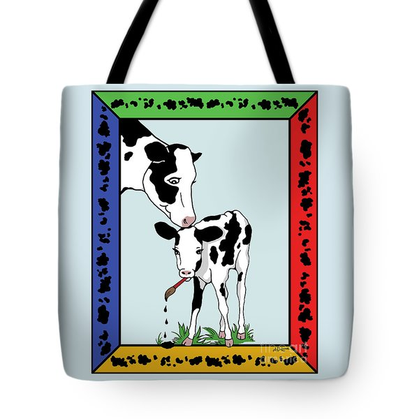 Cow Artist Cow Art II Tote Bag by Audra D Lemke
