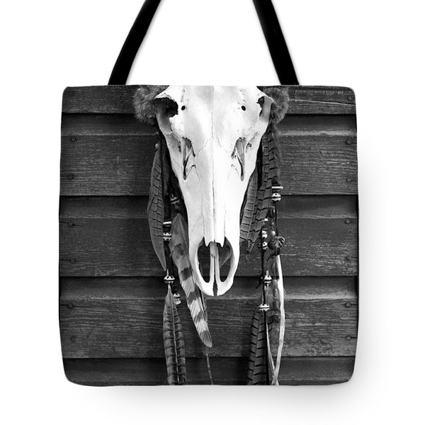 Cow Elk Skull And Feathers Tote Bag by Karon Melillo DeVega