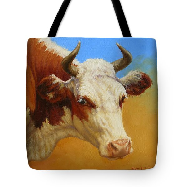 Cow Face Tote Bag by Margaret Stockdale