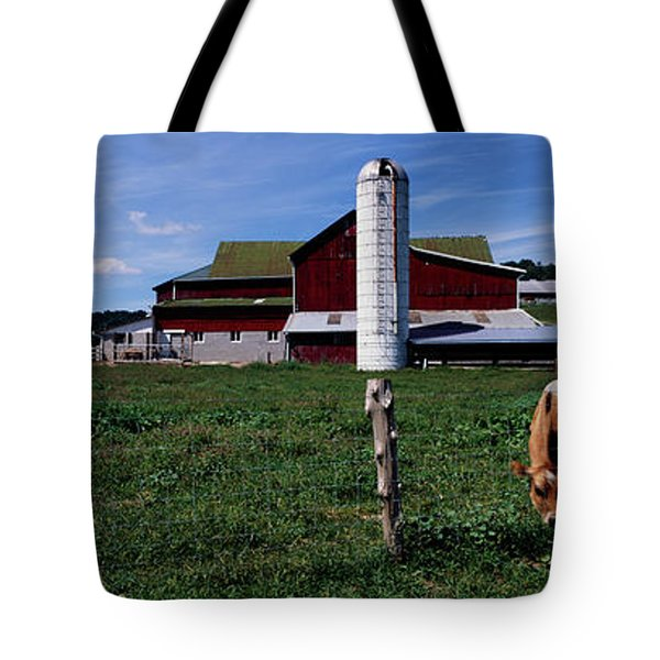 Cow Grazing In A Farm, Amish Country Tote Bag