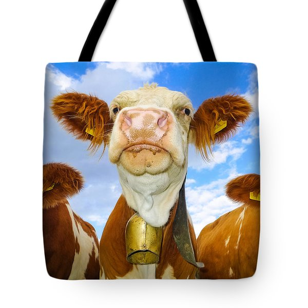 Cow Looking At You - Funny Animal Picture Tote Bag by Matthias Hauser