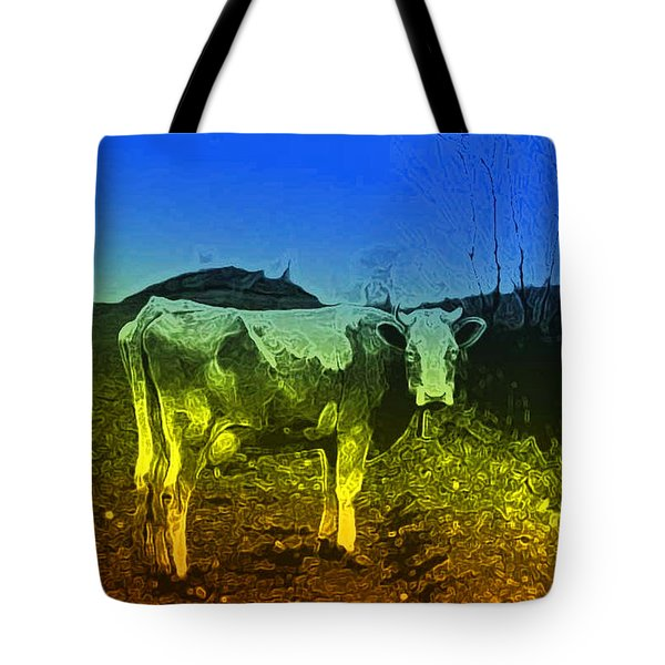 Tote Bag featuring the digital art Cow On Lsd by Cathy Anderson