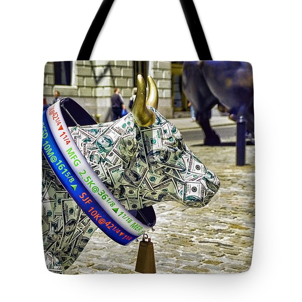 Cow Parade N Y C  2000 - Live Stock Cow Tote Bag by Allen Beatty