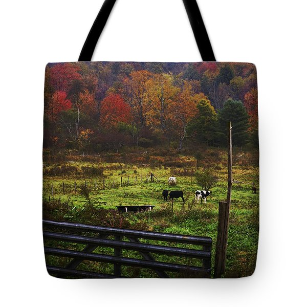 Tote Bag featuring the photograph Cow Pasture In Autumn by Debra Fedchin