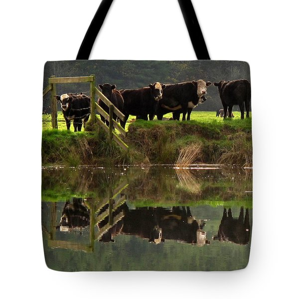 Cow Reflections Tote Bag