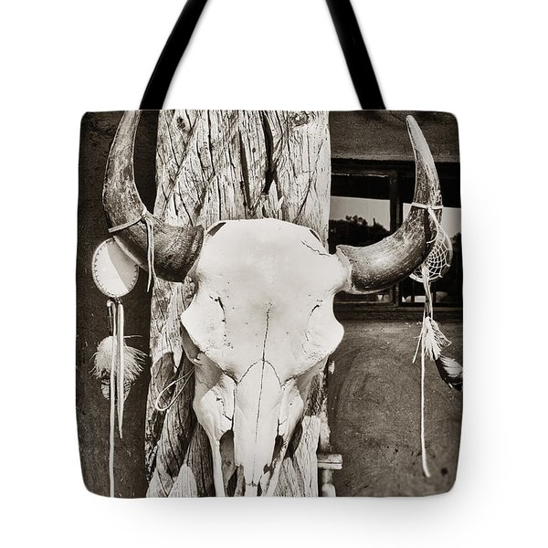 Tote Bag featuring the photograph Cow Skull by Bryan Mullennix