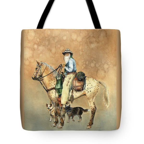 Cowboy And Appaloosa Tote Bag by Nan Wright