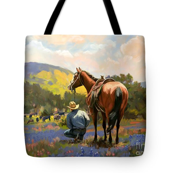 Cowboy And His Cows Tote Bag