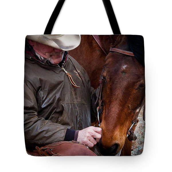 Cowboy And His Horse Tote Bag by Steven Reed