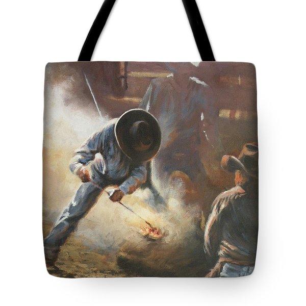 Cowboy Bar-code Tote Bag by Mia DeLode