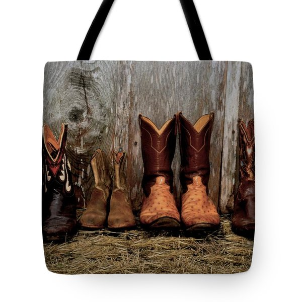 Cowboy Boots And Wood Tote Bag