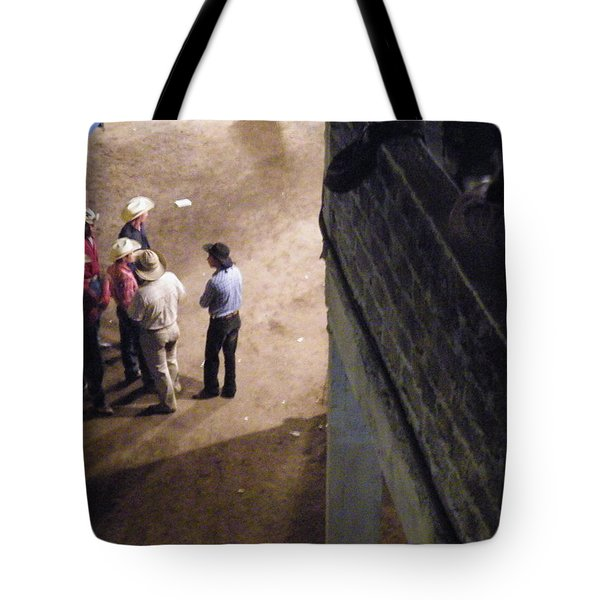 Tote Bag featuring the photograph Cowboy Conference by Brian Boyle