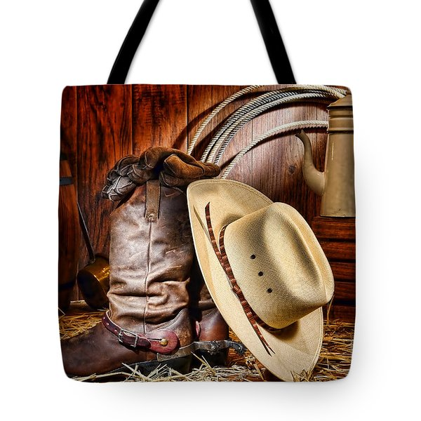 Tote Bag featuring the photograph Cowboy Gear by Olivier Le Queinec