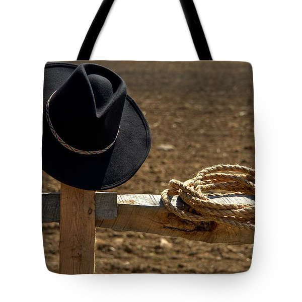 Cowboy Hat And Rope On Fence Tote Bag