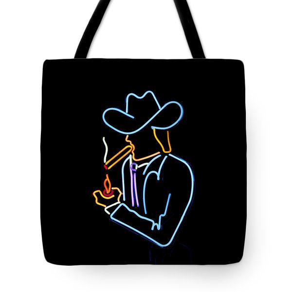 Tote Bag featuring the photograph Cowboy In Neon by Art Block Collections