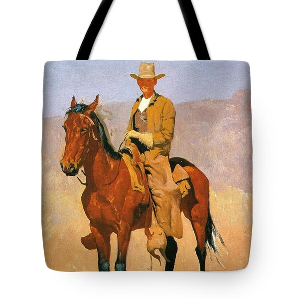 Cowboy Mounted On A Horse Tote Bag by Frederic Remington