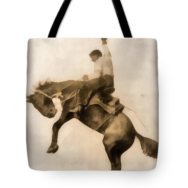 Cowboy On Bucking Bronco Tote Bag