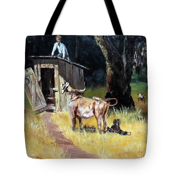 Cowboy On The Outhouse  Tote Bag by Lee Piper