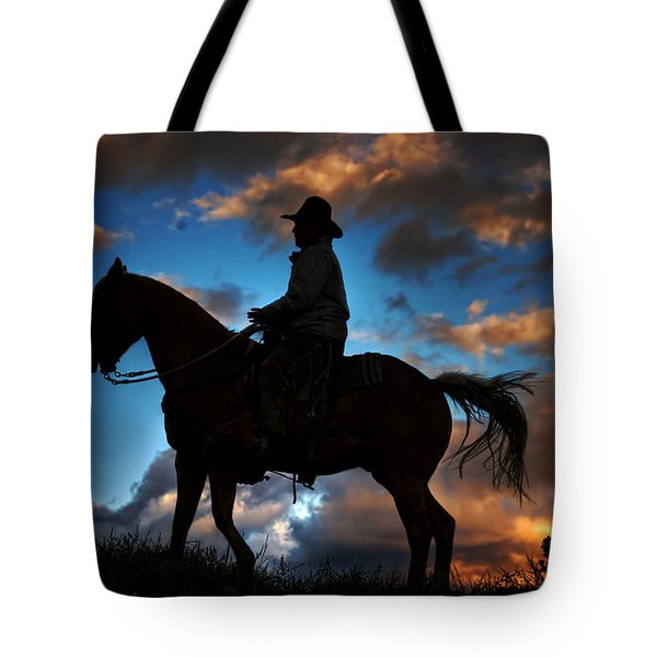 Tote Bag featuring the photograph Cowboy Silhouette by Ken Smith