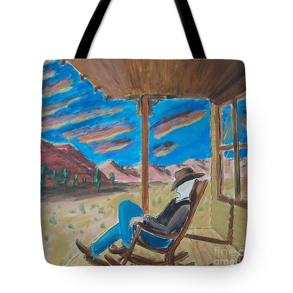 Cowboy Sitting In Chair At Sundown Tote Bag