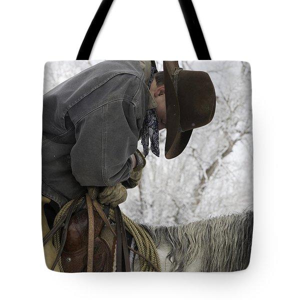 Cowboy Sleeps In The Saddle Tote Bag by Carol Walker