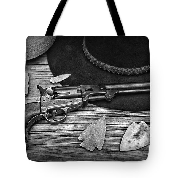 Cowboys And Indians In Black And White Tote Bag by Paul Ward