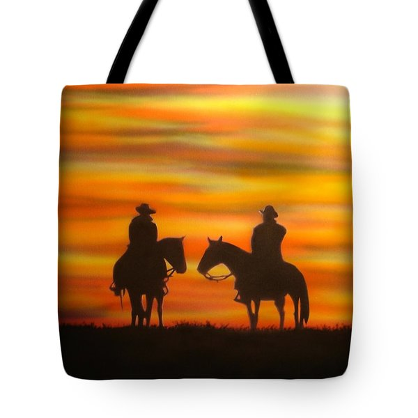 Cowboys At Sunset Tote Bag