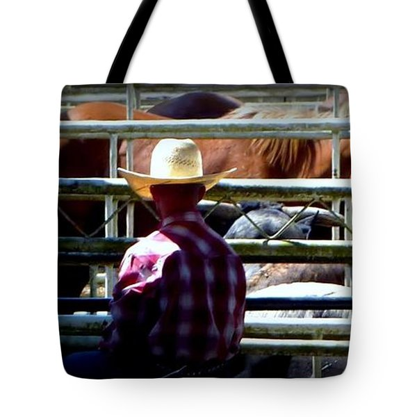 Tote Bag featuring the photograph Cowboys Corral by Susan Garren
