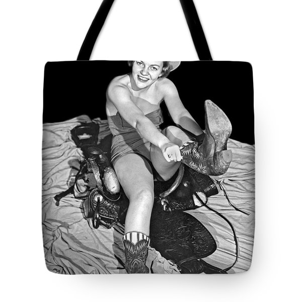 Cowgirl Pulls On Her Boots Tote Bag
