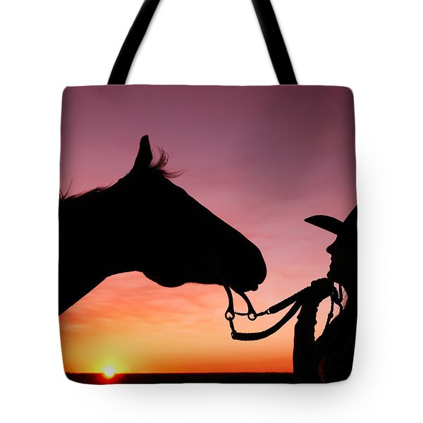 Cowgirl Sunset Tote Bag by Todd Klassy