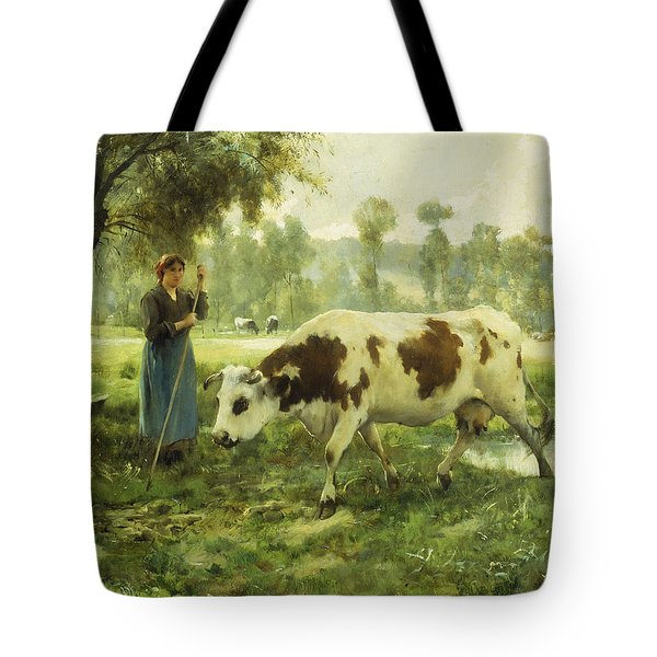 Cows At Pasture  Tote Bag by Julien Dupre