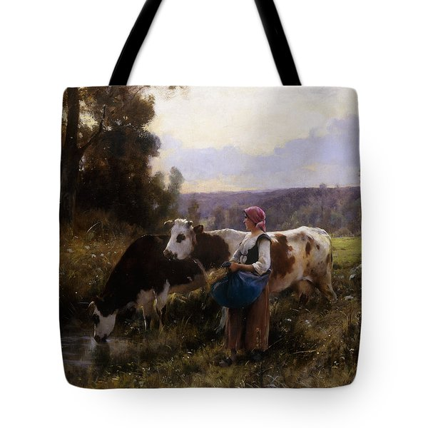 Cows At The Watering Hole Tote Bag by Julien Dupre