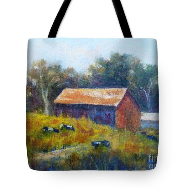 Cows By The Barn Tote Bag