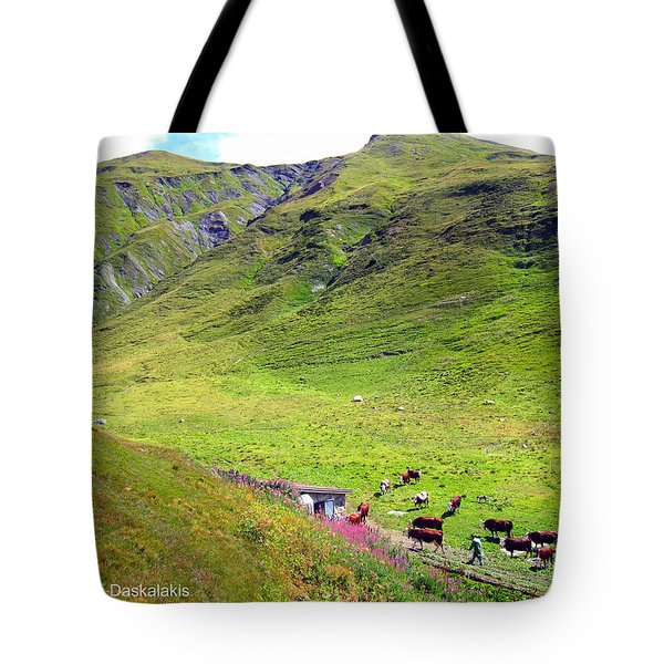 Cows In A Valley Tote Bag