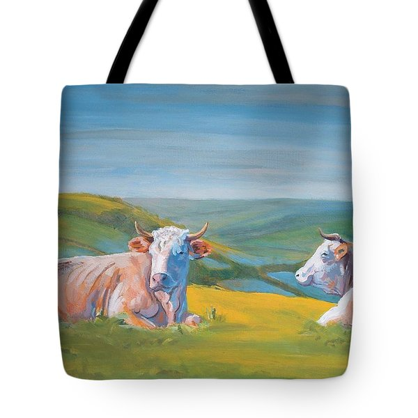 Cows Lying Down Painting Tote Bag