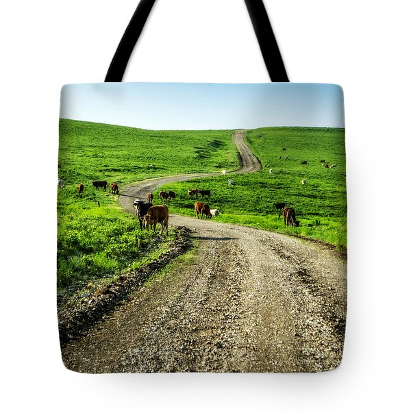 Cows On The Road Tote Bag