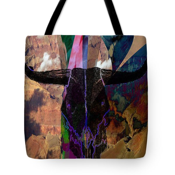 Tote Bag featuring the digital art Cowskull Over The Canyon by Cathy Anderson