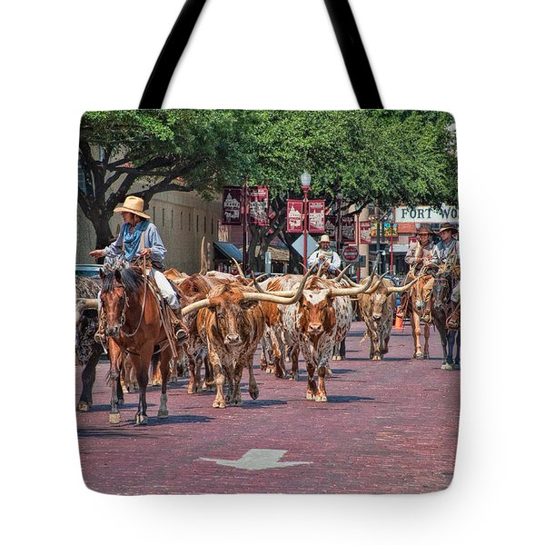 Cowtown Cattle Drive Tote Bag