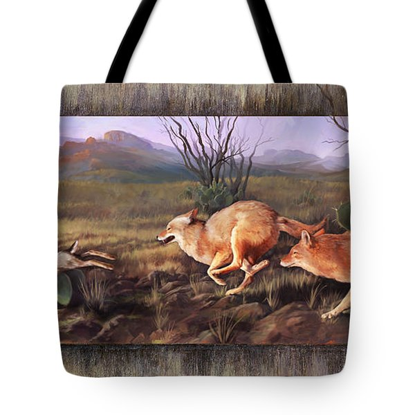 Tote Bag featuring the painting Coyote Run With Boarder by Rob Corsetti