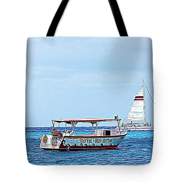 Tote Bag featuring the photograph Cozumel Excursion Boats by Debra Martz